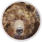 Round Beach Towel featuring the digital art Sad Brown Bear by Kim Prowse