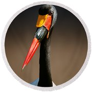 Saddle-billed Stork Portrait Round Beach Towel by Johan Swanepoel