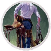 Saddle Bronc Rider Round Beach Towel