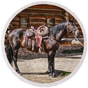 Saddled And Waiting Round Beach Towel