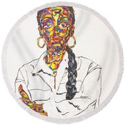 Round Beach Towel featuring the painting Abstract Sade  by Stormm Bradshaw