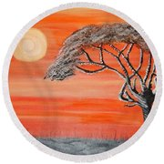 Safari Sunset 2 Round Beach Towel