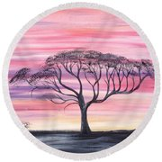 Safari Sunset  Round Beach Towel