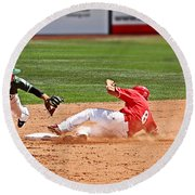 Safe At Second Round Beach Towel