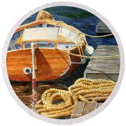 Safe Mooring Round Beach Towel