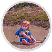 Safety Is Important - Toddler In Mudpuddle Art Prints Round Beach Towel by Valerie Garner