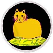 Saffron Cat On Black Round Beach Towel