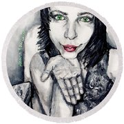Round Beach Towel featuring the painting Sage by Shana Rowe Jackson