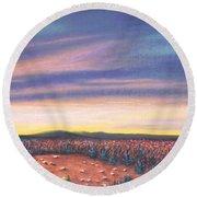 Sagebrush Sunset C Round Beach Towel