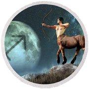Sagittarius Zodiac Symbol Round Beach Towel by Daniel Eskridge