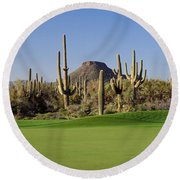 Saguaro Cacti In A Golf Course, Troon Round Beach Towel