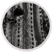 Saguaro Cactus Black And White 1 Round Beach Towel