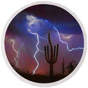 Saguaro Lightning Nature Fine Art Photograph Round Beach Towel