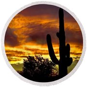 Saguaro Silhouette  Round Beach Towel by Robert Bales