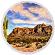 Saguaro Superstition Mountains Arizona Round Beach Towel