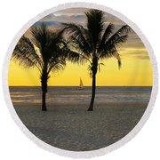 Sail Away At Dawn Round Beach Towel by Roger Becker