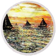 Round Beach Towel featuring the painting Sail Away With Me by Shana Rowe Jackson