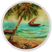 Sail Boats On Indian Ocean  Round Beach Towel by Sher Nasser