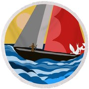Sail Day Round Beach Towel