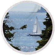 Sail On Round Beach Towel by David and Lynn Keller