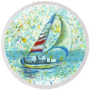 Round Beach Towel featuring the painting Sail On Maui by Darice Machel McGuire