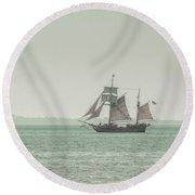 Sail Ship 2 Round Beach Towel by Lucid Mood