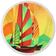 Round Beach Towel featuring the painting Sail To Shore by Tracey Harrington-Simpson