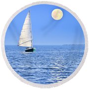 Sailboat At Full Moon Round Beach Towel