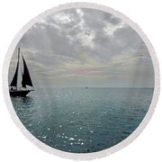 Sailboat At Sea  Round Beach Towel