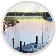 Sailboat At Sunrise Round Beach Towel by Elena Elisseeva