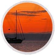 Sailboat At Sunset Round Beach Towel by Marcia Socolik