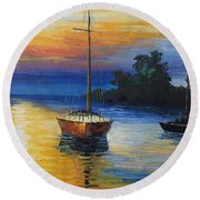 Sailboat At Sunset Round Beach Towel