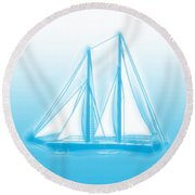 Sailboat Background Round Beach Towel by Methune Hively