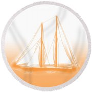Sailboat Background Orange Round Beach Towel by Methune Hively