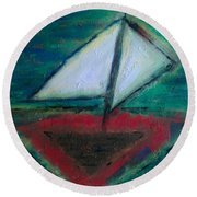 Round Beach Towel featuring the painting Sailboat by Jacqueline McReynolds