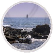Sailboat - Maine Round Beach Towel