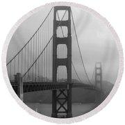 Sailboat Passing Under Golden Gate Bridge Round Beach Towel by Connie Fox