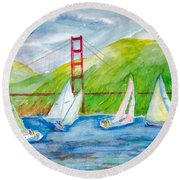 Sailboat Race At The Golden Gate Round Beach Towel