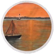 Sailboat Sunset Round Beach Towel