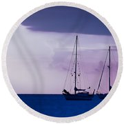 Round Beach Towel featuring the photograph Sailboats At Sunset by Don Schwartz