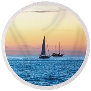 Sailboats At Sunset Off Key West Florida Round Beach Towel
