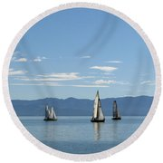 Sailboats In Blue Round Beach Towel