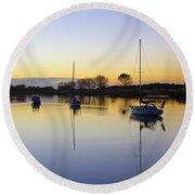Sailboats In Whakatane At Sunset Round Beach Towel by Venetia Featherstone-Witty