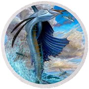 Sailfish And Flying Fish Round Beach Towel