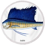 Sailfish Round Beach Towel by Charles Harden