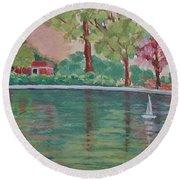 Sailin' Away In Central Park Round Beach Towel by Margaret Bobb