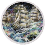 Sailing Among The Stars Round Beach Towel