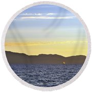 Sailing At Sunset - Lake Tahoe Round Beach Towel