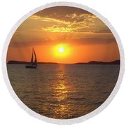 Sailing Boat In Ibiza Sunset Round Beach Towel