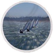 Sailing Boats Racing Round Beach Towel